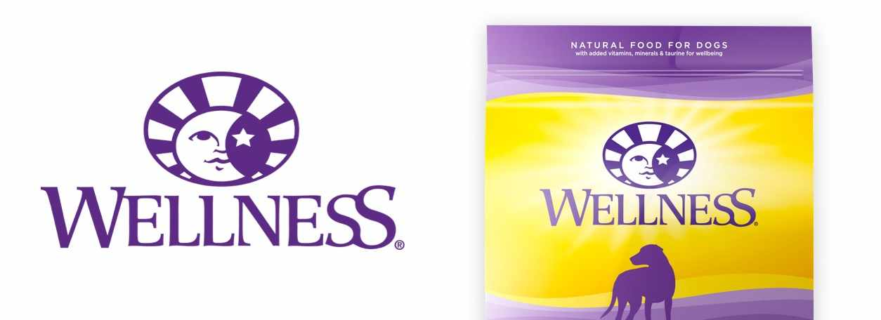 Wellness logo with Wellness Pet Food bag