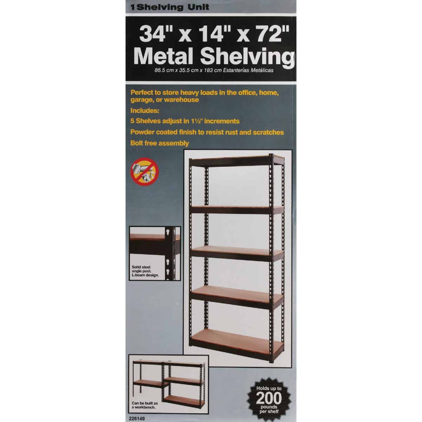 L-Beam 34 In. x 72 In. x 14 In. Black Steel 5-Tier Shelving Image 3
