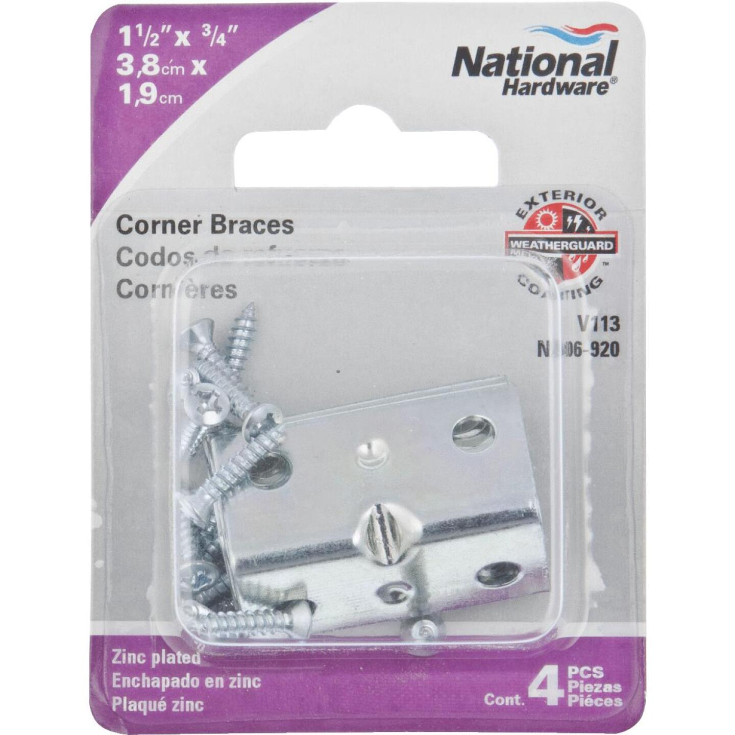 National Catalog V113 Series 1-1/2 In. x 3/4 In. Zinc Corner Brace (4-Count) Image 2