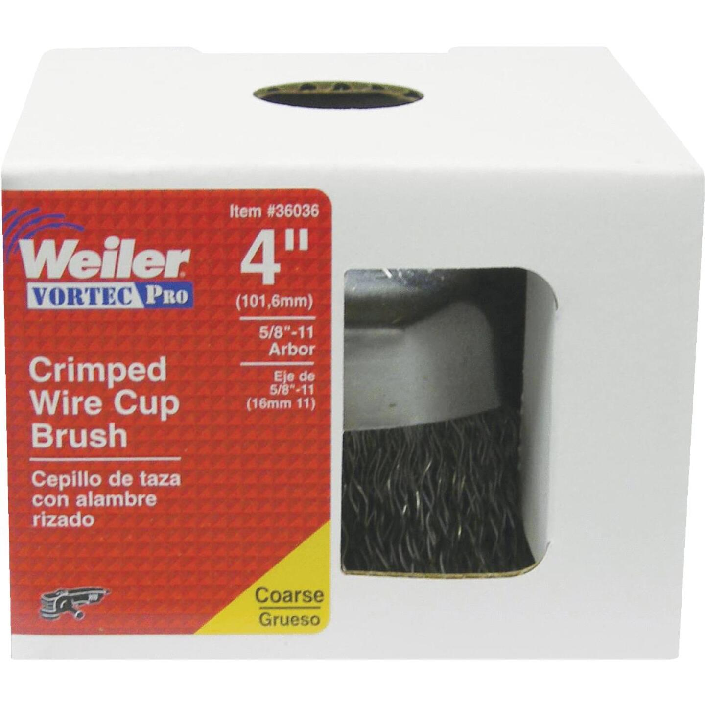 Weiler Vortec 4 In. Crimped 0.02 In. Angle Grinder Wire Brush Image 2