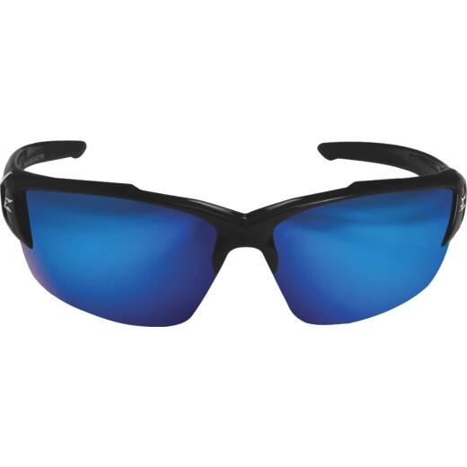 Edge Eyewear Kazbek Torque Red E Matte Black Frame Safety Glasses with Blue Mirrored Lenses