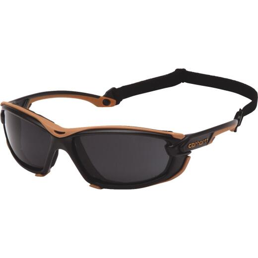 Carhartt Toccoa Black & Tan Frame Safety Glasses with Gray H2MAX Anti-Fog Lenses