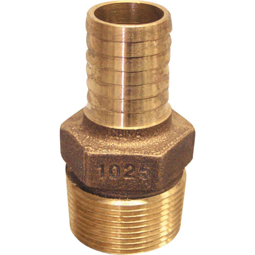Merrill 1 In. MIP x 3/4 In. Insert Red Brass Hose Barb Reducing Adapter