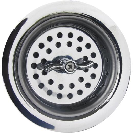 Lasco 3-1/2 In. Chrome Spin Type Basket Strainer Assembly