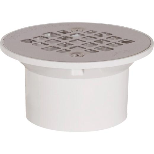 Sioux Chief 2 In. x 3 In. PVC/Stainless Steel Screw Floor Drain