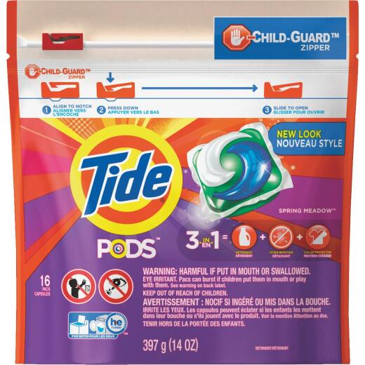 Tide Pods Spring Meadow Child-Guard Zipper Laundry Detergent (16-Count)