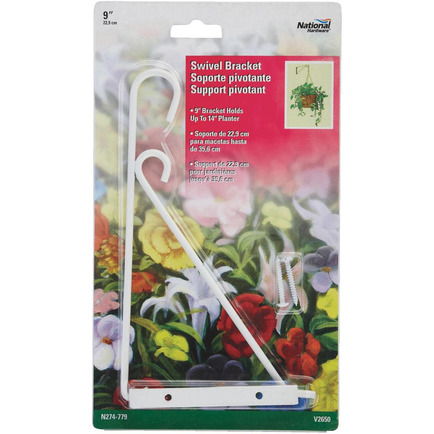 National 9 In. White Steel Swivel Hanging Plant Bracket Image 2